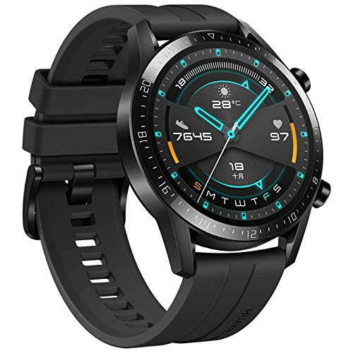 gooplayer para Huawei Watch GT 2 GT2 GPS Teléfono a Prueba de Agua Smart Call Heart Rate Tracker para Android iOS (Sports Obsidian Negro)