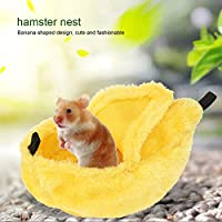 洗えるバナナ型ハムスターの巣、柔らかく暖かいハムスターの巣、ペットスイングのための快適で再利用可能なペットハウス(yellow)