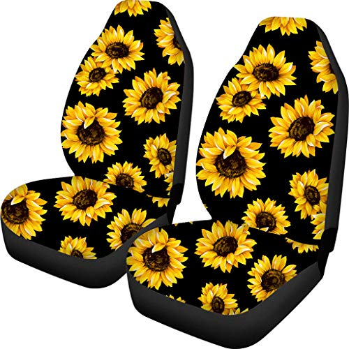 BIGCARJOB Car Seat Cover Front Saddle Blanket Comfort Covers Yellow Sunflower Print for Women Decorative Pack of 2
