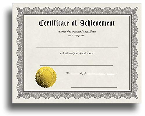"""Certificate of Achievement Certificate Paper with Embossed Gold Foil Seals - 30 Pack - Parchment Award Certificates for Students, Teachers, Employees - 8.5"""" x 11"""" Inkjet/Laser Printable"""
