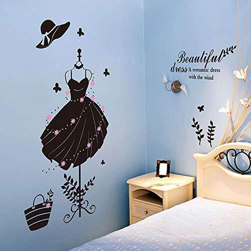 Mujeres hermoso vestido etiqueta de la pared pegatina arte vinilo decoración decoración para vestidor dormitorio