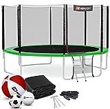 Hop-Sport Outdoor Trampolin Ø 490 cm – Gartentrampolin Komplettset mit stabilen U-Beinen, außenliegendem Netz, Sprungtuch und Leiter sowie Extra-Zubehör, grün