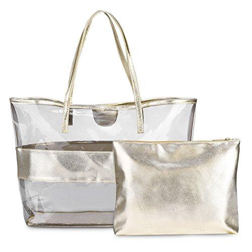 Vbiger Wasserdicht Strandtasche Damen Handtasche Damen Henkeltasche 2 in 1 - Gold-2