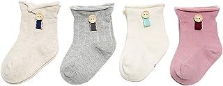 Black Temptation, 4 pares unisex del bebé Calcetines, 1-2 años de edad del bebé del algodón Calcetines