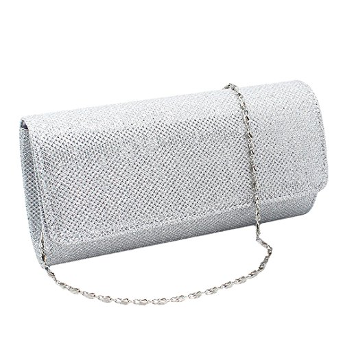 Naimo Flap Dazzling Small Clutch Bag Evening Bag With Detachable Chain (Silver)