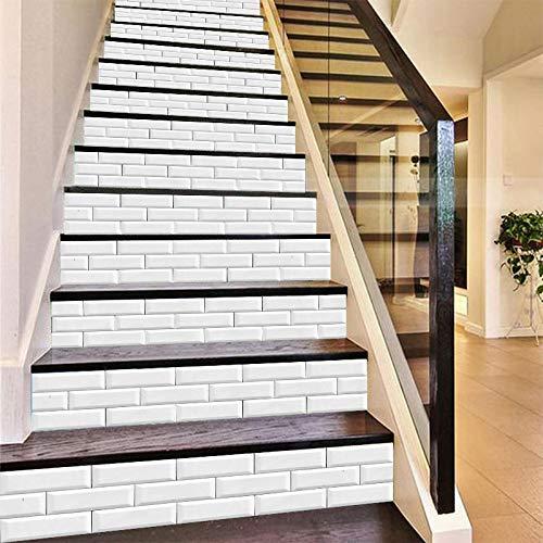 Ice-Beaut Patrón de ladrillo Blanco Escalera Pegatinas de Pared Cocina Baño Azulejos Decoración del hogar Arte Mural Pelar y Pegar Papel Pintado de Vinilo Impermeable DIY