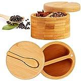 2 Cajas de Sal de Bambú Caja de Azúcar Pimienta de Bambú Salero de Condimentos Contenedores de Almacenamiento de Especias con Tapas Giratorias Magnéticas y Mini Cucharas de Bambú
