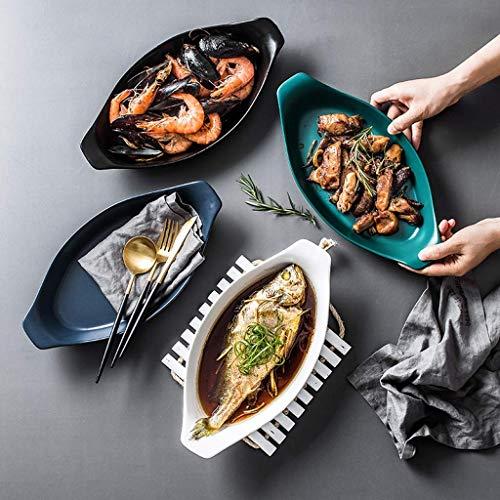 Ceramic Baking Dish Set, Ofen auf den Tisch Kochgeschirr 4-teilig, Backofen Geschirr-Sets Backen Mikrowelle Dedicated Matte Schiffstyp aijia