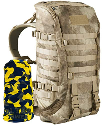 Wisport Bug Out Bag Damen & Herren | Prepper Rucksack | Überlebensrucksack für 1 Person | BOB Backpack | Go Bag | Fluchtrucksack | Cordura | Camo | Zipperfox 40L + UP Schlauchtuch; A-TACS AU