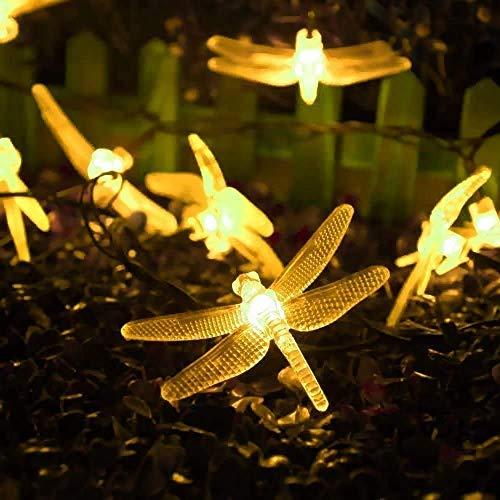 MJYT Luces de Navidad 20 pies/6 m LED libélula Solar Cadena Luces Impermeable para el Hogar Interior Jardín Jardín Jardín Patio Árboles Bodas Decoración