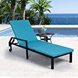 AECOJOY Adjustable Outdoor Chaise Lounge Chair Rattan Wicker Patio Lounge Chair, for Outdoor Patio Beach Pool Backyard Lounge Chairs with Cushion and Wheels,Black