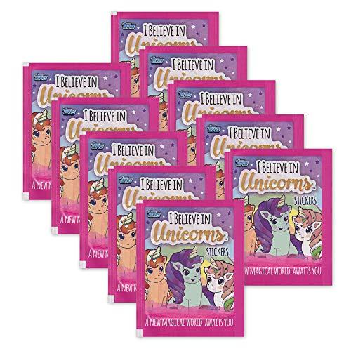 I believe in Unicorns Topps Einhörner Sammelsticker - 10 Booster Tütchen 50 Sticker
