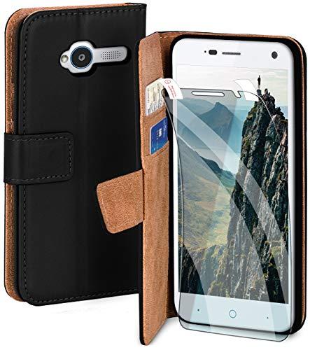 moex Handyhülle für ZTE Blade L3 - Hülle mit Kartenfach, Geldfach und Ständer, Klapphülle, PU Leder Book Case und Schutzfolie - Schwarz