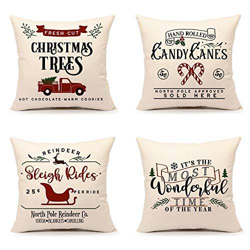 4TH Emotion - Juego de 4 fundas de almohada navideñas de 4 x 18 cm, diseño de casa de granja, para sofá, sofá, decoración de invierno de vacaciones, algodón y lino