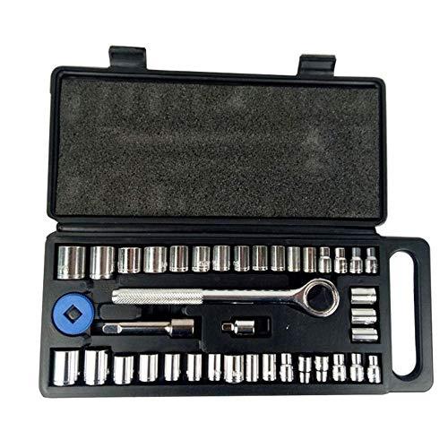 40pcs llave de trinquete trinquete Juego de dados de reparación de coches Herramienta de combinación de trinquete sistema de la llave de par combinación de bits un juego de llaves de cromo-vanadio Jue