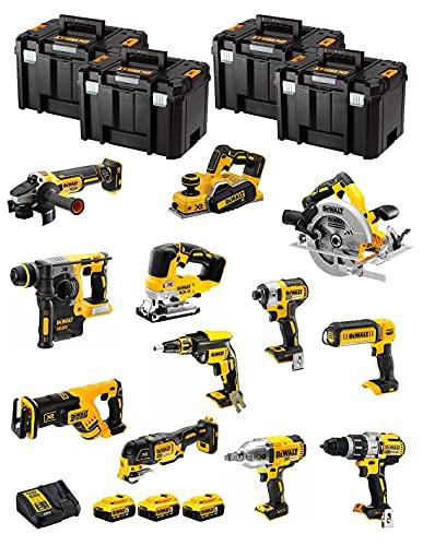 DeWALT Kit DWK1203T (DCD996 + DCH273 + DCG405 + DCF887 + DCF889H + DCS334 + DCS570 + DCS355 + DCP580 + DCS367 + DCL050 + DCF620 + 3 Baterías de 5,0 Ah + Cargador + 4 x TSTAK VI)
