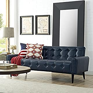 Modway Delve Luxury Button Tufted Upholstered Faux Leather Sofa In Blue