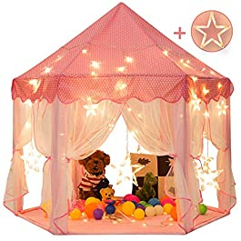 """Sunnyglade 55"""" x 53"""" Princess Tent with 8.2 Feet Big and Large Star Lights Girls Large Playhouse Kids Castle Play Tent for Children Indoor and Outdoor Games"""