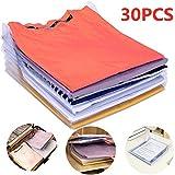 Nifogo Organizador de Camisetas,Camiseta Carpeta - Antihumedad y Antiarrugas,Tamaño Normal(30-Pack)