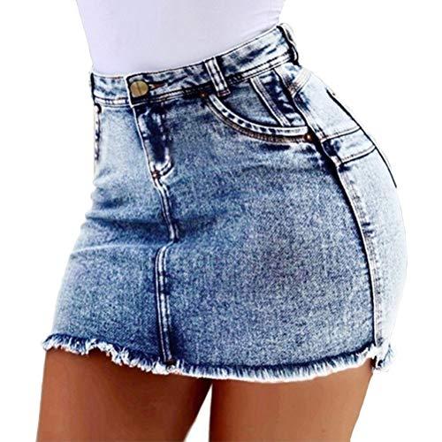 Minetom Sommer Stretch Jeans Minirock Damen Mode Jeans Röcke Sexy Bequeme Hohe Taille Denim Kurz Rock Mit Taschen A Blau Medium
