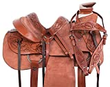 """Manaal Enterprises Size 14"""" 15"""" 16"""" 17"""" 18"""" Wade Tree A Fork Premium Western Leather Roping Ranch Work Horse Saddle TACK Headstall, Breastplate (17.5"""" Inch Seat, Rough Out)"""