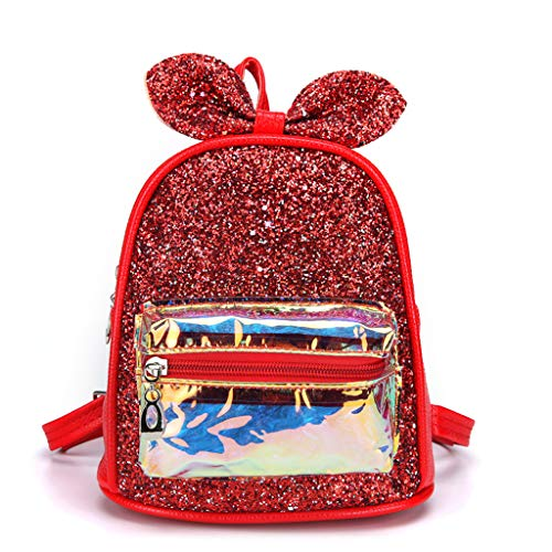 Zhenxinganghu dames meisjes glanzende pailletten mini rugzak schattige konijnenoren hologram schoudertas mode rugzak handtas