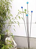 Zen Man Edelrost Gartenstecker Beetstecker aus Metall mit Glaskugel Glasdeko Garten Blumen Rost Gartenskulptur aus Metall Gartenfigure Rost Glück Symbol Gartendeko 031920 H110cm
