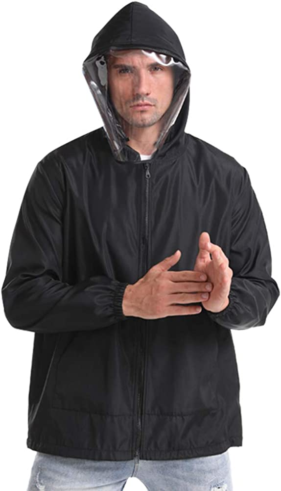 Unisex Dustproof Hooded Jacket Workwear with Detachable Clear Baffle