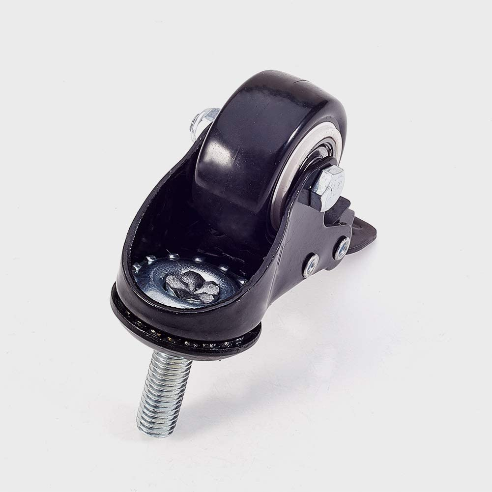 MroMax 1.5 inch Swivel Caster wheels PU 360 Degree Threaded Stem Caster Wheel 77lb Capacity Each Wheel Black Tone 1pcs M10 x 25mm