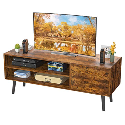 "Homfio TV Stand for TV, 2-Tier TV Console Stand Storage Entertainment Center and Cabinet Industrial Style TV Console for TVs up to 50"" Gaming Consoles Mid Century Wood TV Stand for Living Room Bedroom"