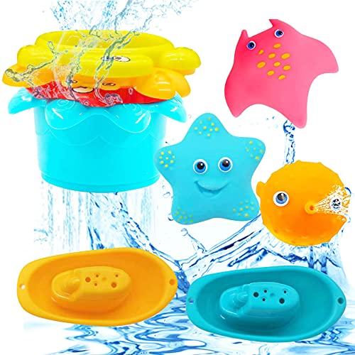 9 Stück Badespielzeug Baby,Badespielzeug für Kleinkinder,Spritztiere,Badespielzeug Boot,schwimmendes Badespielzeug,Buntes Badespielzeug,Badewannenspielzeug Kinder,Badewannenspielzeug