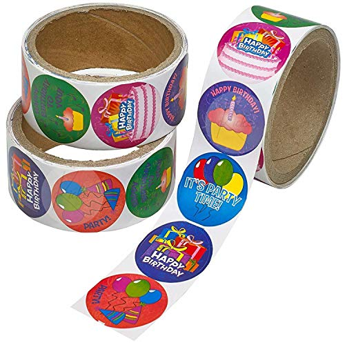 Kicko Birthday Sticker Rolls - 3 Pack - 100 Stickers per Roll Totalling 300 Stickers - Birthday Greeting Decals for Novelty Toys, Party Favors, Bag Stuffers, Party Decorations, Arts and Crafts