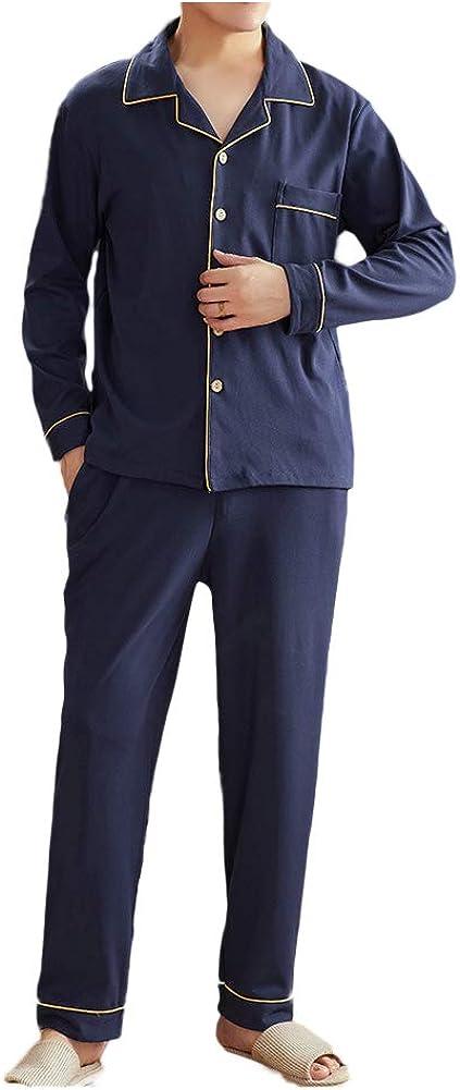Wowcarbazole Men's Cotton Pajamas Max 63% OFF Max 65% OFF Set S Top Bottom Sleeve Long