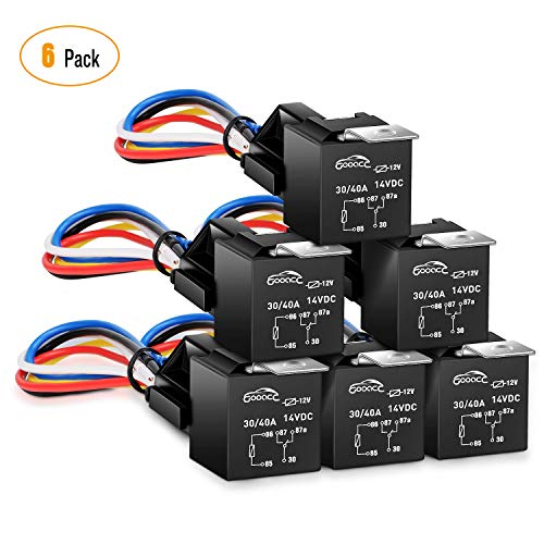 GOOACC 6 Pack Automotive Relay Harness Set 5-Pin 30/40A 12V SPDT with Interlocking Relay Socket and Harnesses,2 years Warranty