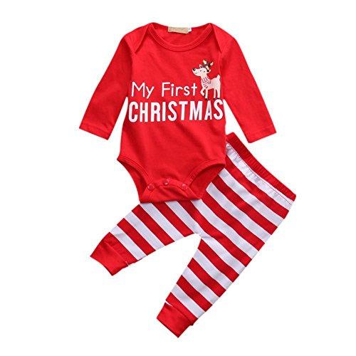 BOBORA Ropa Bebé Niña, Bebé Niña Niños Mamelucos de Manga Larga de Navidad + Pantalones a Rayas por 0-24Meses