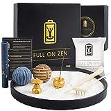 Full on Zen Meditation Decor Mini Zen Garden for Desk Kit - Japanese Zen Garden Sand Tray Therapy with Desk Zen Garden Accessories and Agarwood Incense