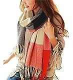Bufanda Mujer Invierno Scarf Pañuelo de Señora Tartan Bufanda de Invierno Moda Chal Mujer Suave Cálido Mantón (B)