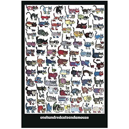 LIUYUEKAI Cien gatito gato Amouse cuadro de arte de pared lienzo pintura cartel impreso para decoración del hogar-50x70cm sin marco