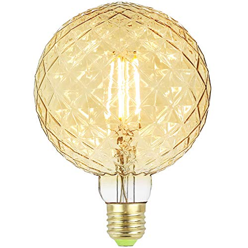 Tianfan Edison LED-Leuchtmittel, groß, G125, 4 W, 220 / 240 V, E27, Vintage-LED-Glühfaden, 350 lm, Warmweiß, glas, bernsteinfarben, E27 4.00W 240.00V