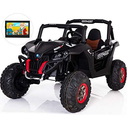 Tecnobike Shop Elektrische auto voor kinderen Thunder 12 V 4 schokdemper lederen monitor 4 inch MP3-speler zwart.