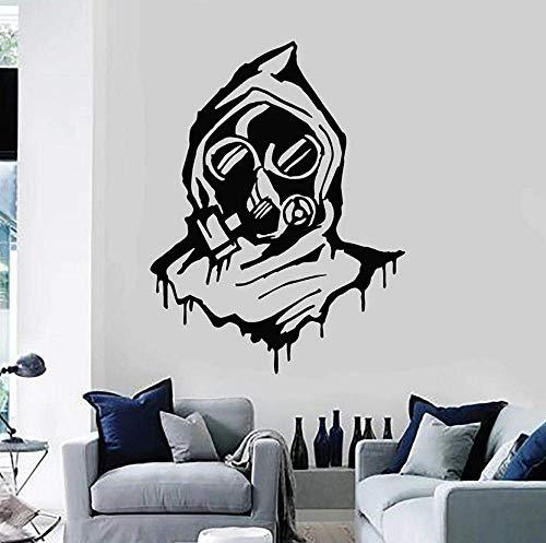 Wandtattoo Gasmaske Militär Atemschutzhaube Teen Schlafzimmer Wohnzimmer Cool Style Home Decor Vinyl Fenster Aufkleber Kunst Wandbild 42X54Cm
