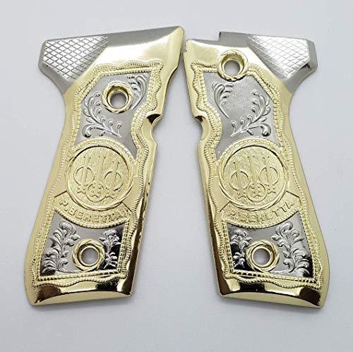 Tek_Tactical Beretta 92 96 Grips Beretta 92F, 92FS, M9, 96 Metal Grips Gold/Nickel Plated Beretta Grip Screws Included