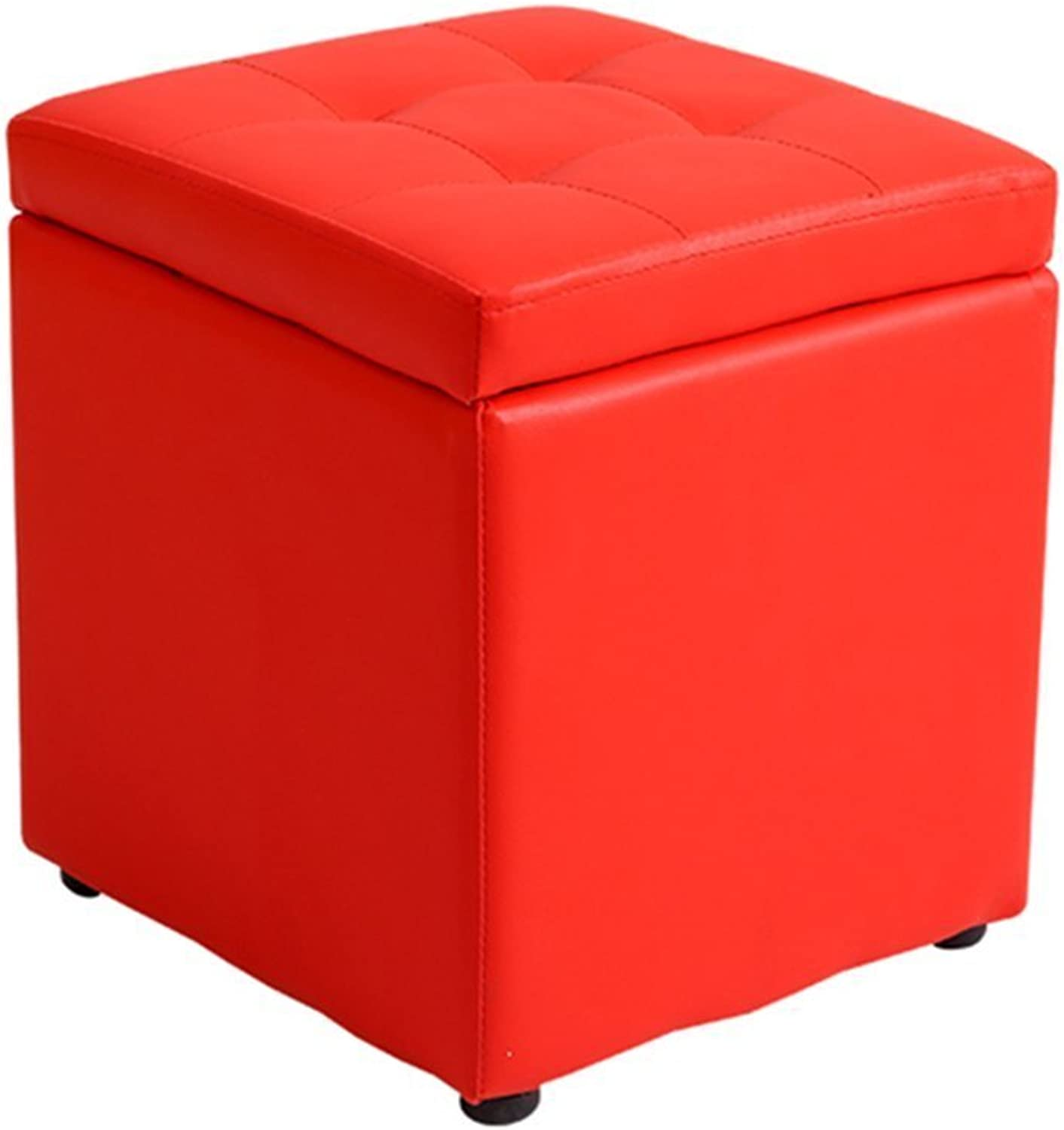 RHHWJJXB Low Stool Storage Stool Storage Stool Fashion Leather Bench Change shoes Bench Pier Hall Sofa Bench Footstool shoes Bench Stool Small Stool (color   Red)