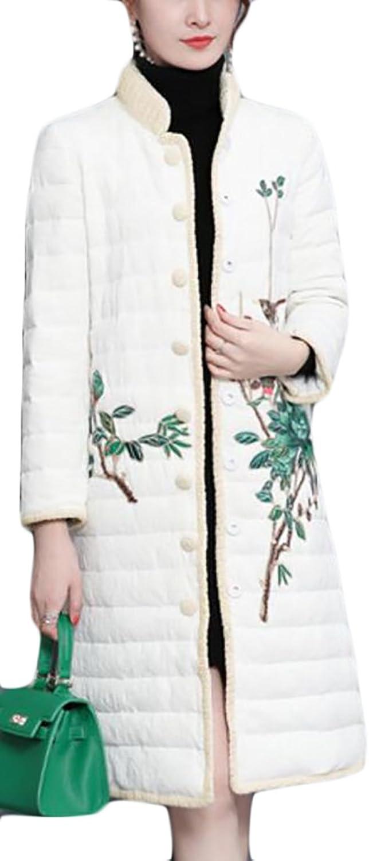 Alion Women's Stand Collar Embroidery Print Full Zipper Midi Long Puffer Down Jacket
