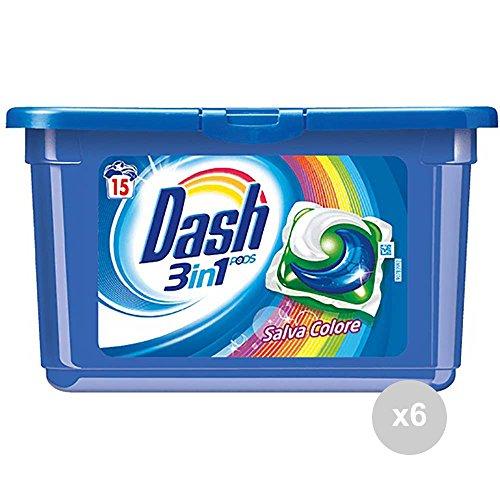 Dash Lot de 6 machine à laver 3 en 1 15 Ecodose Pods, couleur lessive pour le linge, multicolore, unique