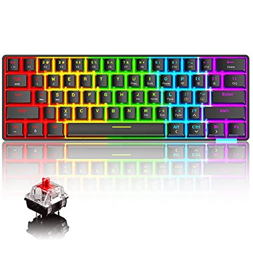 Tastiera meccanica 60% cablata senza fili Bluetooth 5.0 Dual-mode Tastiera 61 tasti RGB Arcobaleno LED retroilluminato USB Type-C Tastiera da gioco impermeabile Tasti anti-ghosting(interruttore rosso)