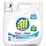 all Liquid Laundry Detergent, Free Clear with Odor Relief, 141 Fluid Ounces, 79 Loads
