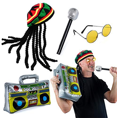Tigerdoe Rasta Hut mit Dreadlocks - 4-teiliges Set - Stoner Kostüm - Jamaika Rasta Hut - Reggae Kostüm schwarz