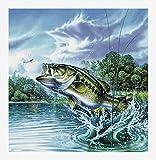 Sugamm 5D Diamond Painting Pesca Pez Kit Completo, Bricolaje Punto De Cruz Diamante Pintura Mar Animal Kit Decoración De La Pared De La Del...