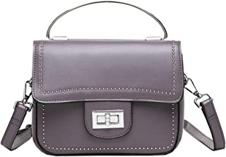 Fashion Simple and Versatile Compact Bills Shoulder Slung Leather Handbags (Color : Purple)
